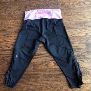 Lululemon Black & Pink Stripe Crop Legging